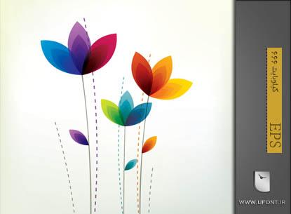 وکتور گلهای رنگی